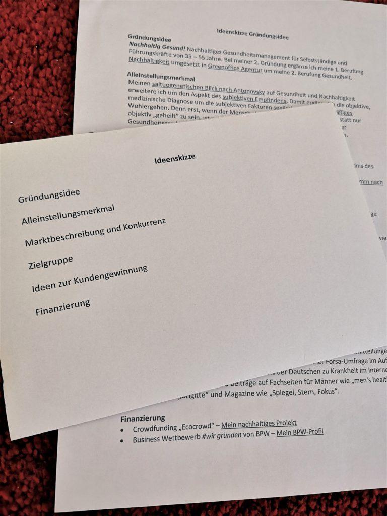 Gründerworkshop Aufgabenblätter Ideenskizze