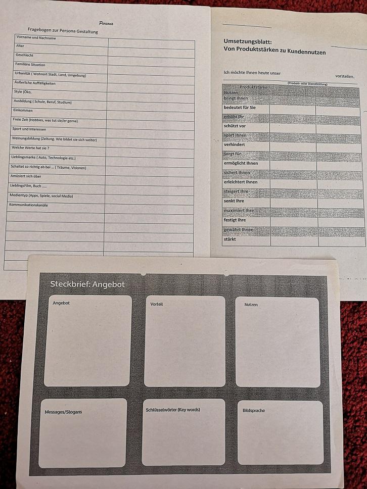 Gründerworkshop Aufgabenblätter Kunde und Angebot