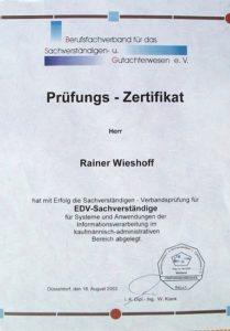 Gutachterzeugnis Rainer Wieshoff